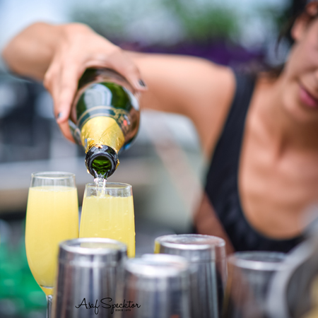 ברמנית מוזגת שמפניה לכוס בבר בסורה מרה - Barwoman is pouring champaign at the bar in Sura mara